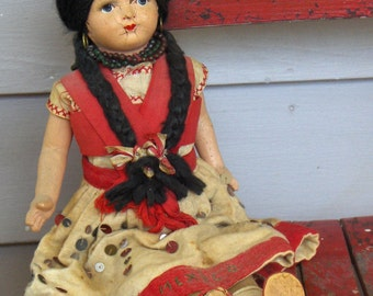 Vintage Mexico composition and Linen Señorita Doll. South Western Lolita Girl antique toy.