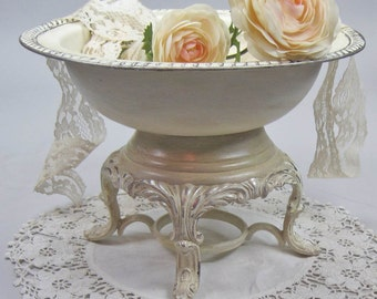 Pedestal Bowl Wedding Centerpiece Shabby Chic Painted Silver Plate Handmade by OlliesFineThings