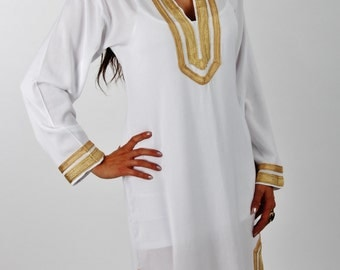 Mariam Style White Moroccan Caftan Kaftan- Perfect as loungewear, as beachwear, birthday,honeymoon gifts, beach cover up, wedding gifts,boho