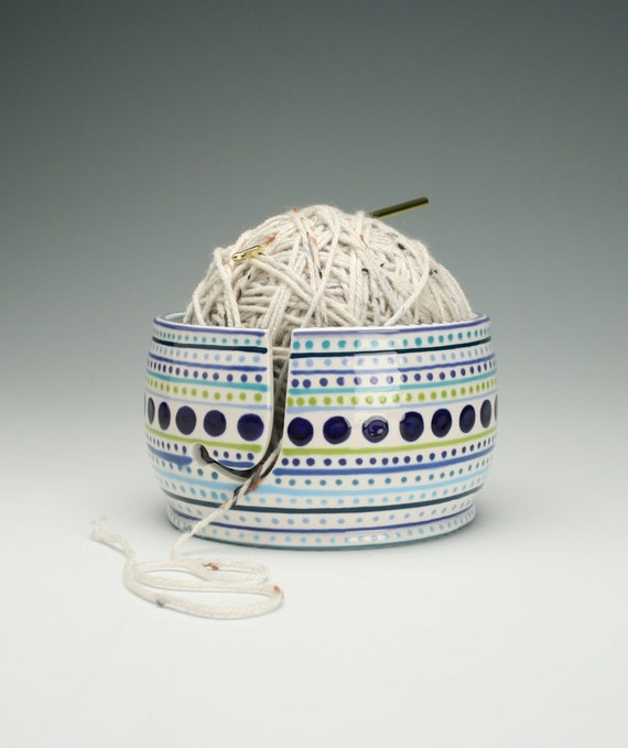 Crochet Yarn Bowl : Yarn Bowl for Knitting and Crochet - Hand Painted Stripes and Dots