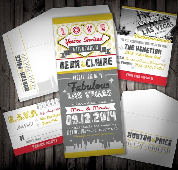Las Vegas Wedding Invitation Wording: Items Similar To Viva Las Vegas Wedding Invitation Suite