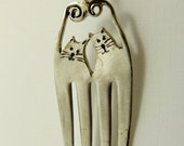 Fork Cats Hudson And Lyla - Up Cycled Sterling Silver And Silver Plated Silverware - Art Jewelry Pendant - 1229