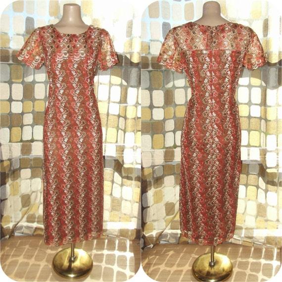 Vintage 50s Dress   1950s Cocktail Dress   All Over Embroidered Leaves   Sheer Neckline   60s Wiggle Dress   Size Large XL
