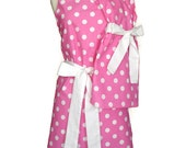Mommy and Me Matching Apron Set, Cute Mother Daughter aprons, Hot Pink Polka Dots,  white ties, aprons for women children, Mother's Day gift