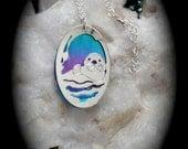 Otter necklace , silver, sea otter handmade , otters, niobium jewelry, gift ideas, accessories blue purple, nature jewelry,