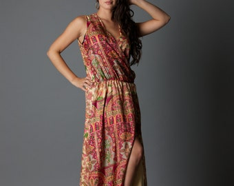 SALE! Floral Sunset - plum and cream wrap around maxi dress with buttons, sleeveless and super comfy (size 10-12-14) M/L