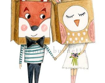 I'm Wild About You Print- Couple Illustration - romantic - wedding illustration - Emily Burnette - Recipe 4 Cute