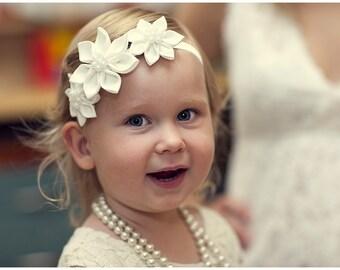 flower girl headband - Ivory girl headband - champagne girl headband - toddler headband - baby girl headband - infant head band