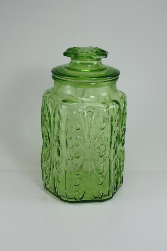 green glass kitchen canisters vintage green glass canister decorative embossed by 3987
