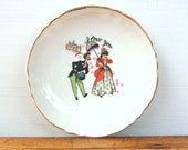Vintage I Love You Porcelain Plate