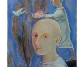"art painting original man woman portrait people figurative Rebirth oil canvas 16"" x 20"""