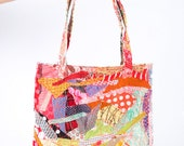 Recycled handbag ,upcycled medium tote ,Refashion Crazy Patchwork , multicolored recycled cotton scraps - Tote grocery, Eco Handmade for her