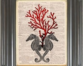 Seahorse Red coral print on dictionary or music page Dictionary art print wall decor Sheet music Digital print Marine decor Item No 213