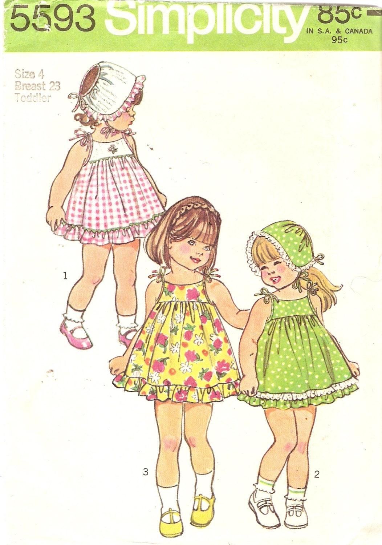 1970s Girls Sundress Pattern Simplicity 5593 Breast 23 Size 4