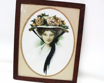 Vintage Wood Framed Gibson Girl Print Wall Art Victorian Lady Flower Hat Oval Picture Wall Hanging