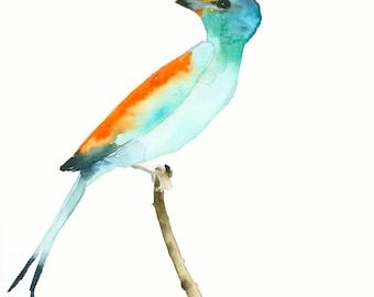 SALE was 66 USD Bird Watercolor Original Bird of Paradise
