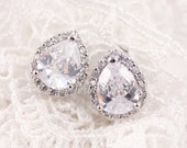 CZ Bridal Earrings - Bridesmaids Cubic Zirconia Tear Drop Nickle Free Ear Studs Sparkling Gift For Her Under 30