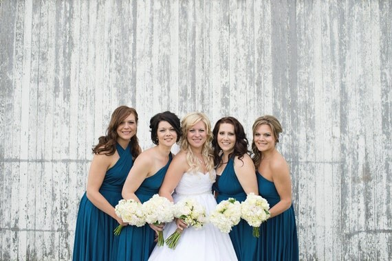 Peacock Teal Blue Convertible Bridesmaid Dresses By