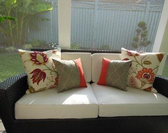 Contemporary Southwestern Decorative Pillow - Accent Throw Pillow - 15 x 15 inch Reversible - Classy Crimson Design Pillow -  Rustic Retreat