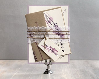 "Rustic, Lavender, Lilac, Purple and Lace Wedding Invitations, Wedding Invites - ""Lavender in Love"" Sample"