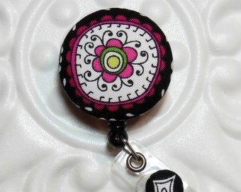 Retractable Badge Holder Id Reel  Fabric Covered Button Black And Pink