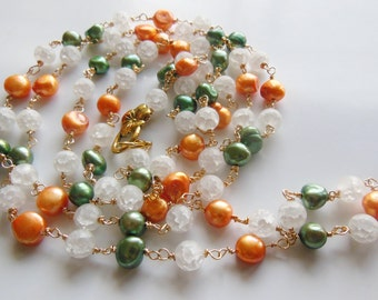 Orange blossom Crystal and pearls handmade Necklace 525