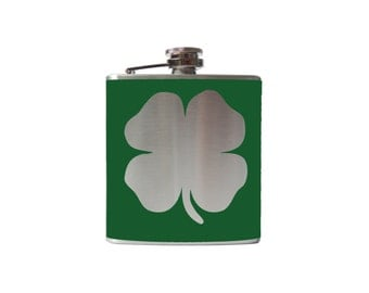 Four Leaf Clover Flask- alcohol, liquor, booze, hip- whiskey, Personalized Custom - YOU pick COLOR