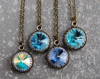 Aurora Borealis Rainbow Crown Victorian Pendant Necklace Swarovski Crystal Aquamarine Sapphire Turquoise Pendant Northern Lights Jewelry Her