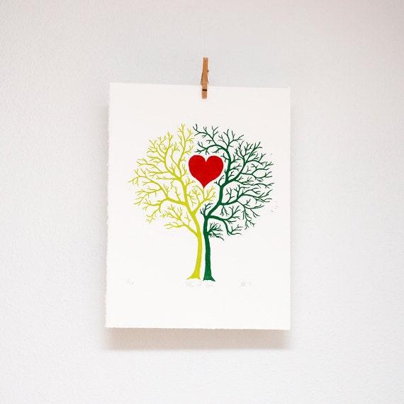 Tree of Love,  linocut, hand printed, wall art, woodland print
