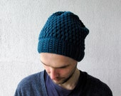 Men's Slouchy Beanie Hand Knit Hat for Men Beanie Winter hat Crochet Slouch Hat Oversized beanie Teal Knit hat Chunky knit