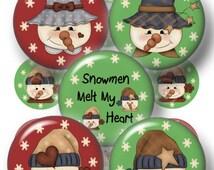 Snowman, Instant Download, Bottle Cap Images, Digital Collage Sheet, Snowmen Melt My Heart, No.1, Pendants, Cabochons, Cupcake Tippers, Tile