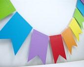 Rainbows Flags 4ft Garland: Art Birthday Party, 1st Birthday Boy, Noah's Ark Party, Circus Birthday, Carnival Decor, Rainbow Birthday