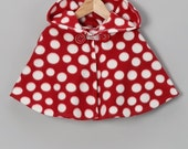 Red and White Polka Dot Hooded Poncho