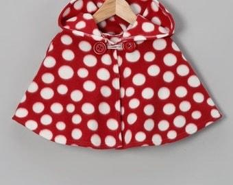 Red and White Polka Dot Hooded Poncho