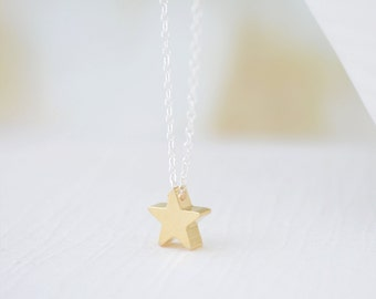 Tiny Star Necklace, Little Gold Star Charm Necklace, Small Silver Star Necklace, Dainty Star Jewelry, Mixed Finish Necklace, Olive Yew -1124