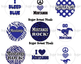 INSTANT DOWNLOAD Mustangs School Mascot Blue 1 inch circle Bottlecap Images