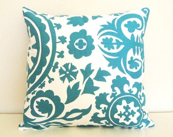 CLEARANCE 50% OFF Turquoise Throw Pillow Cover. 20 X 20 Inch. Teal Throw Pillow.