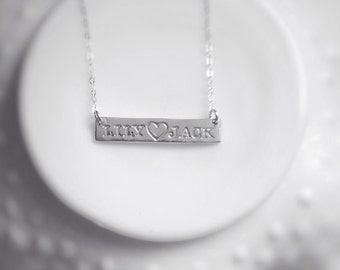 Name Necklace Bar Simple Mothers Sterling Silver Personalized Custom Jewelry