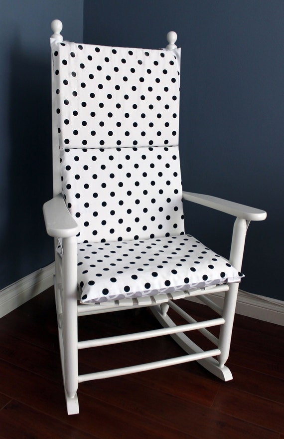 Rocking Chair Cushion Black White Polka Dot By Rockincushions