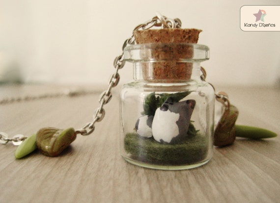 Wolf terrarium necklace. Wolf necklace. Woodland Forest Bottle Necklace Animal jewelry Wolf jewelry necklace woodland jewelry Forest jewelry