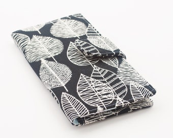 Women's Wallet, Organic Canvas Fabric Clutch, Vegan Wallet, Birch Leaves - Black and White