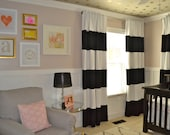 "90"" Black and White horizontal striped CURTAINS CUSTOM"