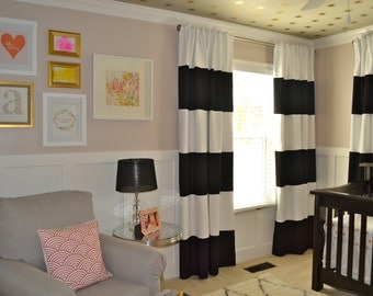 Curtains Ideas black and white striped curtains horizontal : Black and White horizontal striped CURTAINS CUSTOM