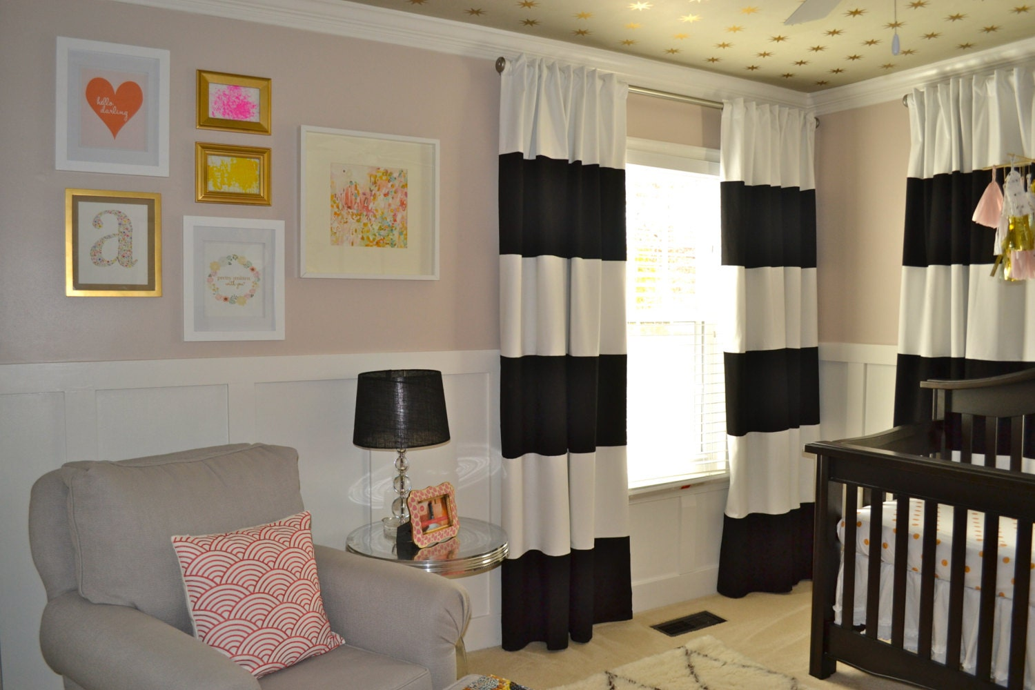108 black and white horizontal striped curtains custom