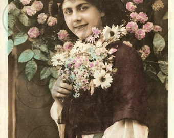 Antique French Tinted Photo Postcard Edwardian Woman with Pink Roses & Daisies RPPC from Vintage Paper Attic