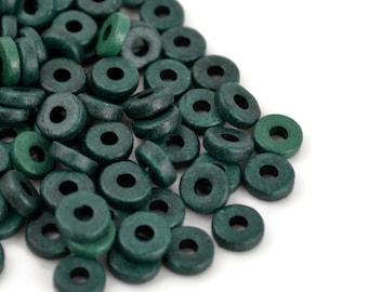 50 Mykonos 8mm Round Washer - Dark Hunter Green - Greek Ceramic Beads - Spacer Disk