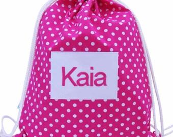 Personalised Girls Swim Bag, Waterproof Backpack - Pink Polka Dot