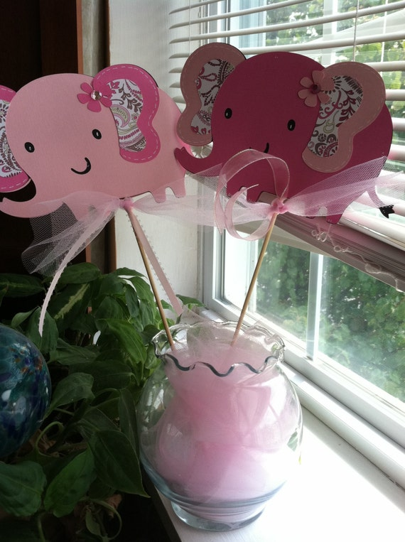 Items similar to elephant centerpieces pink