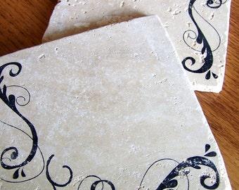 trivets, rustic, natural stone, tumbled tile - swirls design, set of 2