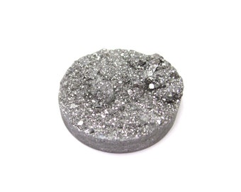 Druzy Cabochon 1 Silver 30mm Round Agate 20% off SALE - Stone For Wire Wrapping and Jewelry Making (Lot C15) Crystal